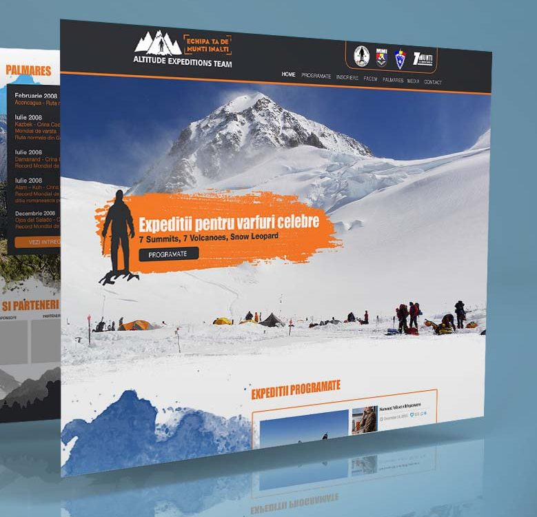 Webdesign mockup Altitude Expeditions Team