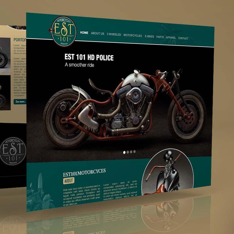 Webdesign mockup Est 101 Motorcycles