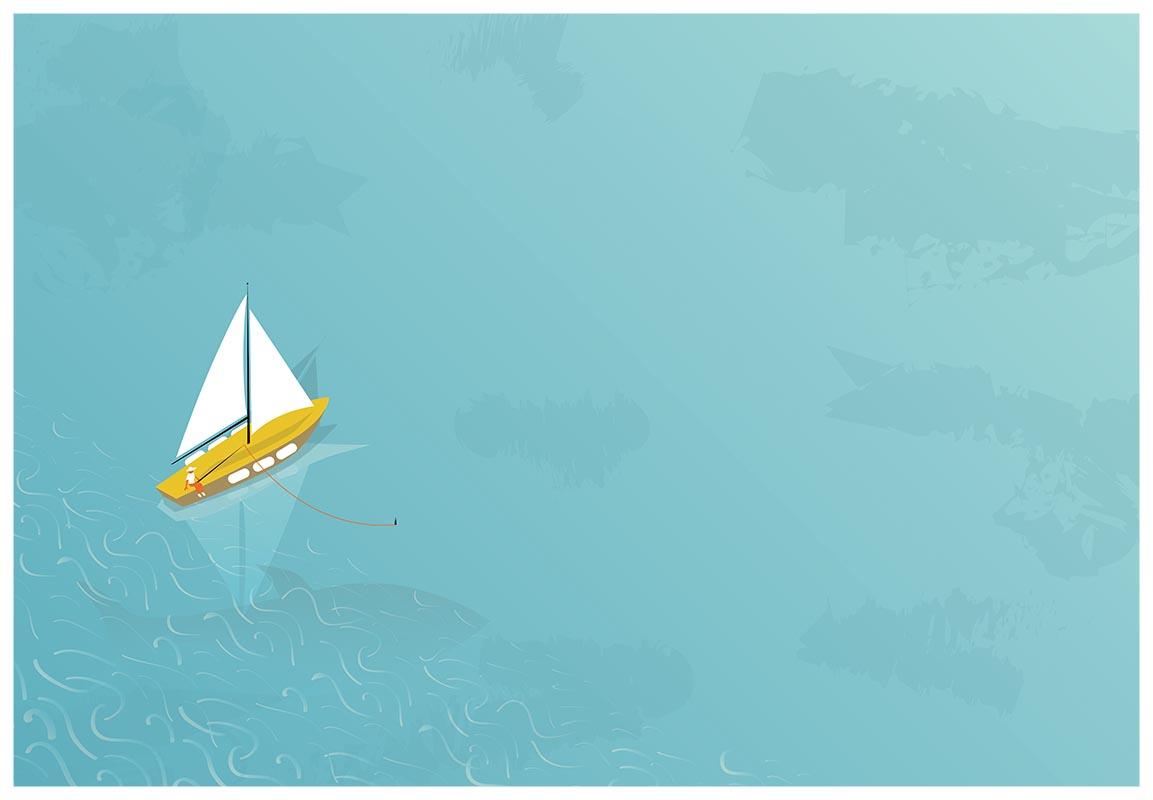 Ilustrație - Alone on the sea