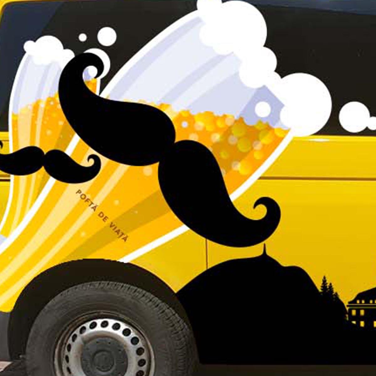 Design colantare dubă Mustața de bere - detaliu